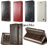 plastic card holder - For Samsung Galaxy S7 edge S6 Plus Note5 A3 A7 CaseMe Retro Luxury Magnetic Leather Wallet Stand Case Flip Cover Card Holder Phone