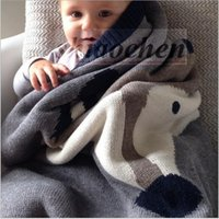 Wholesale Kids Cartoon Ins Blankets Knit Corchet Blankets Fox Rabbit Blankets Animal Print Blankets Warm Thicken Nap Office Sofa Ins Blankets A1072