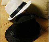 Wholesale Cheap Vogue Men Women Straw Hats Soft Fedora Panama Hats Outdoor Stingy Brim Caps FMZ002 DHL