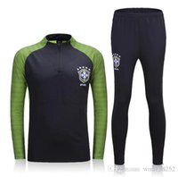 Wholesale 2016 Brazil suit training suits Uniforms shirts Chandal NEYMAR JR football tracksuits Survetement long sleeve tight pants With zipper