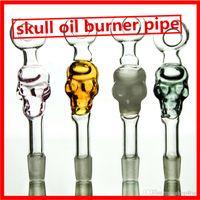 Wholesale Skull glass oil burner pipes cm color price water heady glass in stock SW05
