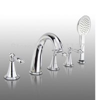 bathtub materials - luxury brass material chrome plating widespread bathroom bathtub faucet five pieces bath and shower faucet