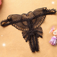 Wholesale Fashion Intimates Briefs Sexy Lady Underwear G String Open Crotch Thongs T Back Hollow Out butterfly Embroidery G Strings Brand