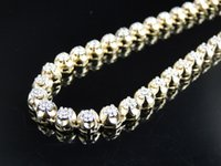 10k gold chain - Mens Prong Set Row Genuine MM Diamond Chain Necklace in k Yellow Gold Ct