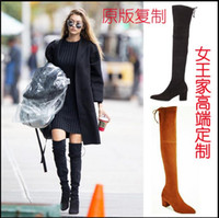 ankle boots tights - Europe Scrub Genuine Leather Pointed Thick with Bare boots Mid heel Jackboot SW Slimming Elasticity Tight Boots