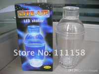 Wholesale 2012 New LED Plastic Cocktail Shaker Bottle Plastic Cocktail Shaker Plastic Set EMS xx