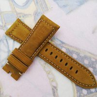 Wholesale 26mm mm Fashion high quality Brown Nubuck Calf Leather bands Strap watchband For Panerai Wristwatch