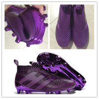 Wholesale With Box New Cheap ACE Purecontrol Football Boots Outdoor Men High Ankle FG AG Soccer Shoes ACE Soccer Cleats Without Shoelaces