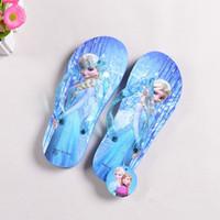 Wholesale 2016 Summer Children Cartoon Snow Queen Flip Flops Girls Elsa Shoes Beach Slip Resistant Slippers Girls Flat Shoes Chaussure
