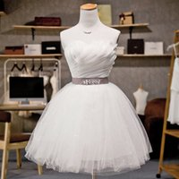Wholesale Bride New Bridesmaid Full Short Tube Top Banquet Annual Meeting White Small Dresses