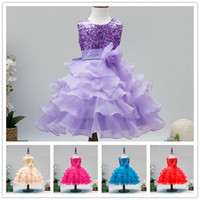 Wholesale 2016 New Flower Girls Dresses For Weddings Kids Tiered Lace Paillette Dresses Prom Princess Dress For Girls Performance Pleated Skirt