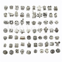 Wholesale Mixed Style Silver Plated Big Hole Loose Beads Charm European Bead Fit Pandora Bracelets DIY Flat European Jewelry Accessories Pendant