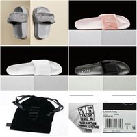Wholesale Drop Shipping Famous Leadcat Fur Slides Gray Pink Black White Slide Sandal Slippers Womens Sandals Size