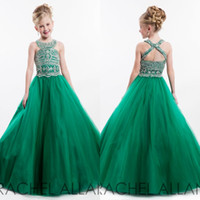 Wholesale 2016 Green Girls Pageant Dresses Princess Beaded Top Jewel Neck Backless Long Girls Formal Wears Flower Girl Party Celebrity Dresses