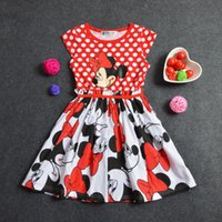 batik dresses wholesale - Summer kids girls party dresses Dot Mickey Mouse Minnie tutu Dress Baby Clothes Kids clothing Drop Shipping can cho0se size