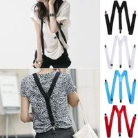 Wholesale PC Fashion Beauty Hot Casual Color Mens Womens Unisex Elastic Y Shape Adjustable Braces Clip on Belts Suspenders For Vestidos