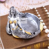 Wholesale Mermaid Ashtray Shatterproof Cigar Ashtray Mermaid Smoking Ashtray Creative Ashtray Hotel Club Decro Home Office Desk Decoration New B169
