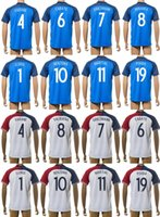 2016 Francia Fútbol jerseys azules caseros camisas ausentes Tailandia maillot de fútbol Lloris Griezmann BenArf Benzema Cabaye Martial Pogba Varane