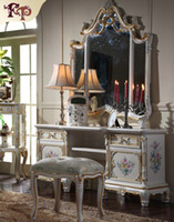 bedroom set dresser - European Palace classic furniture Luxury French royalty classic bedroom furniture set cracking paint dressing table and mirror