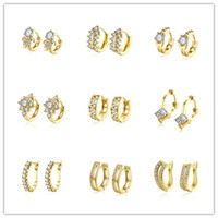 Wholesale Mixed style plated gold small hoop earrings cz diamonds fashion jewelry woman beautiful christmas gift
