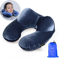 Wholesale U Shape Travel Air Pillow for Airplane Inflatable Neck Pillow Driving Travel Accessories Comfortable Pillows for Sleep Home Textile Colors