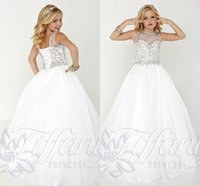 Wholesale 2016 Cheap Girls Pageant Dresses For Teens Crystal Beads Jewel Neck Long Tulle Ball Gown Size Party Children kids Flower Girl Gowns