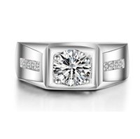 Wholesale 1 CT Simulated Diamond Ring of American Business Design Style Stamped Platinum Plated Ring for Men Stronger