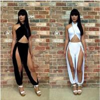 Wholesale 2016 New Rompers Women Jumpsuits Long Pants Sexy Bandage Jumpsuit Split Jumpsuit Romper Pants Lady Jumpsuits Clothing Black and White color