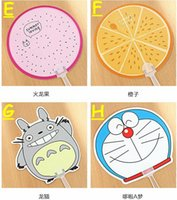 Wholesale 12styles Cartoon animal Fruit plastic hand fan Summer creative students fan gift cool advertisement can add logo