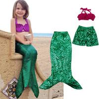 Wholesale Girl mermaid tail Bikini swimwear Suits new children mermaid cosplay clothes Bikini swimwear Suit cartoon Suits