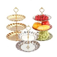 Wholesale 2 Tier Fruits Cakes Desserts Plate Stand Gold Color Stainless Steel Plates