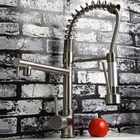 Wholesale Deck Mounted Hot and Cold Water Spring Pull Down Kitchen Faucet Nickel Brushed Dual Spray Kitchen Mixer Tap