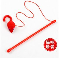 Wholesale 3194 Pet Products Supplies Cat Playing Toys The Dangle Faux Mouse Rod With Mouse Funny Hot Sale10PCS