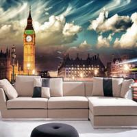 big print wallpaper - Custom D Mural Wallpaper London City Night Big Ben Wallpaper Self adhesive Waterproof Living Room TV Sofa Backdrop Wallpaper