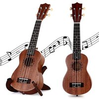 Wholesale 21 Inch Soprano Ukulele TOKKY Uke Four Strings Instrument Brown Laser Engraving No border Semi closed Rosewood Sapele Ukelele