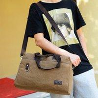Wholesale Unisex canvas top handle traveling bag single shoulder pack cross body multi functional outdoor nice handbag male bag