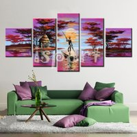 africa rivers - hand made cheap modern canvas art purple landscape oil painting river and Boatman abstract africa life painting for sitting room