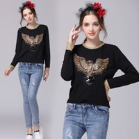 Wholesale Runway Famous Brand Autumn Winter Golden Collar amp Cuff Rabbit Furs Stretched Eagle Sequined Beadings Sweaters Women Pulls