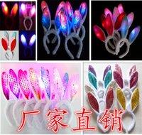 Wholesale Children s toys LED Luminous Plush Rabbit Ears Rabbit Hair Barrette Halloween Dress Costume props