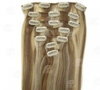Wholesale synthetic hair extension clips set inch fashion hair clip inch seven pieces hair clip Light brown Light blonde
