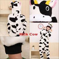 Wholesale Cow Animal Costumes Kigurumi Pajamas Cosplay Halloween Long Sleeve Romper Cartoon Jumpsuits Unisex Animal Pajamas Sleepwear