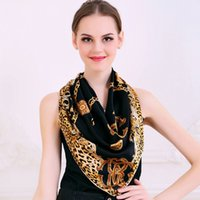 Cheap Wholesale-Women Black Gold Chain Large Square Scarves Printed Hot Sale Leopard Print Brand Silk Scarf Spring Autumn Satin Scarves 90*90cm