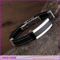 Wholesale Fashion Trendy Male Men s Bracelet Cuff Wristband Cuff bangle Silver Stainless Steel Black Rubber Belt