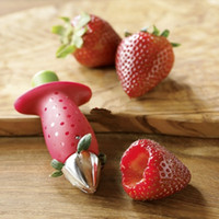 Wholesale Strawberry Stem Gem Leaves Huller Tomato Huller Fruit Corer Kitchen Tool Color Red HG0001