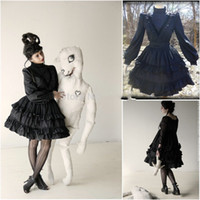 A-Line belle cocktail dress - New Arrival Black Gothic Prom Dresses Southern Belle Victorian Homecoming Dress A line High Neck Short Mini Halloween Cocktail Party Dress