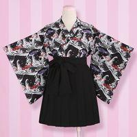 banner skirts - Set Yabuka Carp Banner Wind Print Improved Kimono Feather Top Pleated Half Skirt Black XJ01