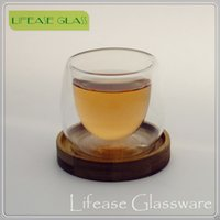 Wholesale ml Double Wall Glass Cup With Bamboo Base Tea Cups For Tea Coffee Drinking