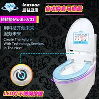 automatic lid toilet - Blue diamond round pad intelligent toilet lid disposable toilet automatic induction sanitary seat replacement