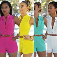 batch coding - Europe and the tight type of tall waist single breasted jumpsuits shorts with belt More color code Support to mixed batch of