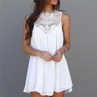 asia skirt - Women s Girl s Casual Vintage A Line Dress Short Skirt Tops Chiffon Lace Crochet Sleeveless Including Asia Dress